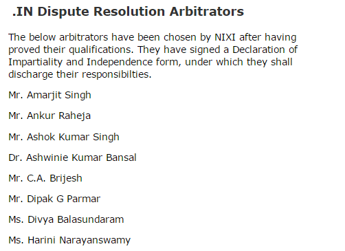 List of INDRP Arbitrators with .IN Registry / Nixi
