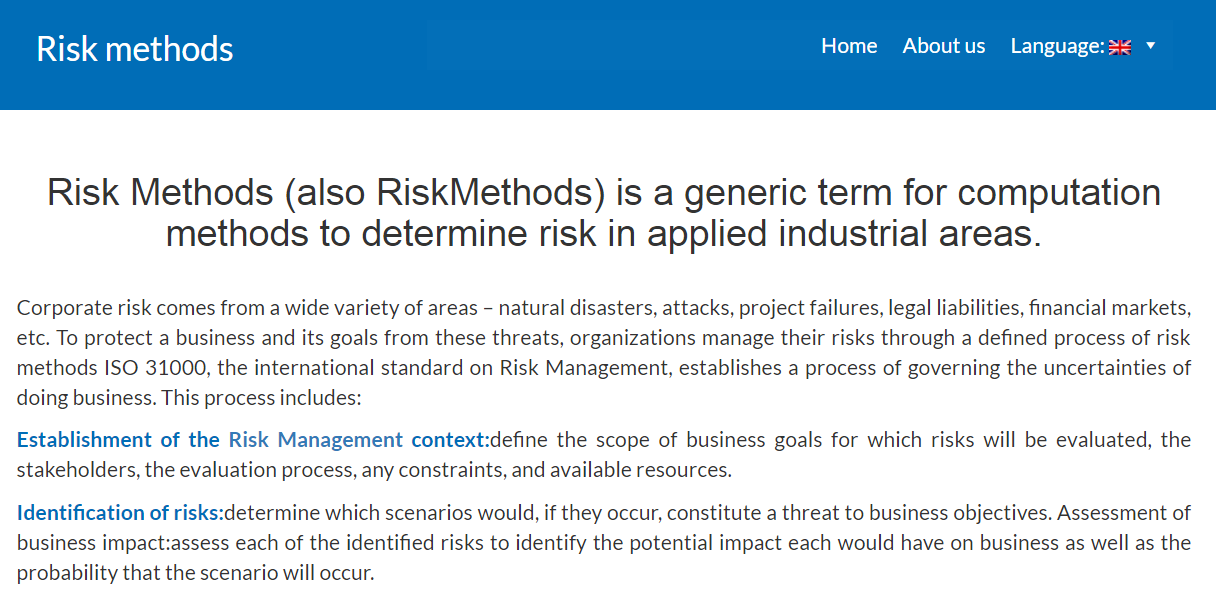 Cylaw Solutions helps US Company defend RiskMethods.com due to generic nature against RiskMethods GmbH, Germany